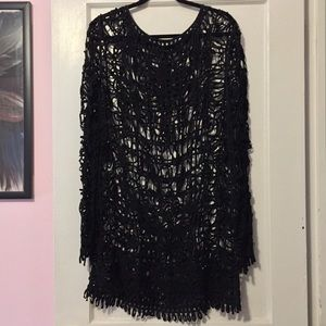 Topshop Patterned Mesh Netting Black Dress